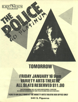 Flyer for the 1981-01-16 Police concert.
